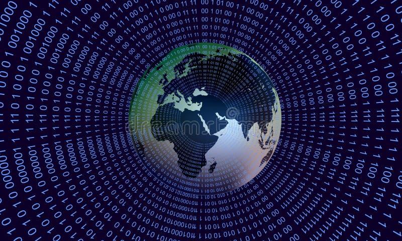 Tecnolog?a de red del mundo Comunicaci?n de la tecnolog?a ilustración del vector