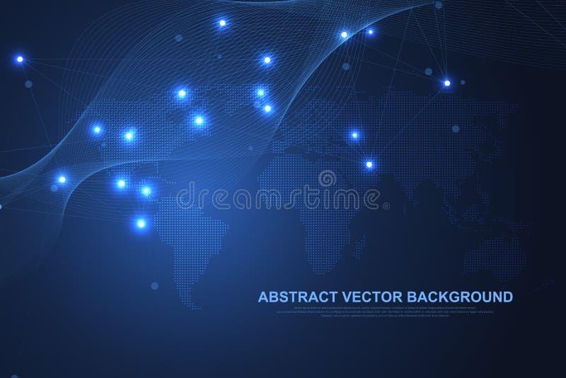 Tecnolog?a del extracto del concepto de la conexi?n del establecimiento de una red Conexiones de red global con los puntos y las  libre illustration