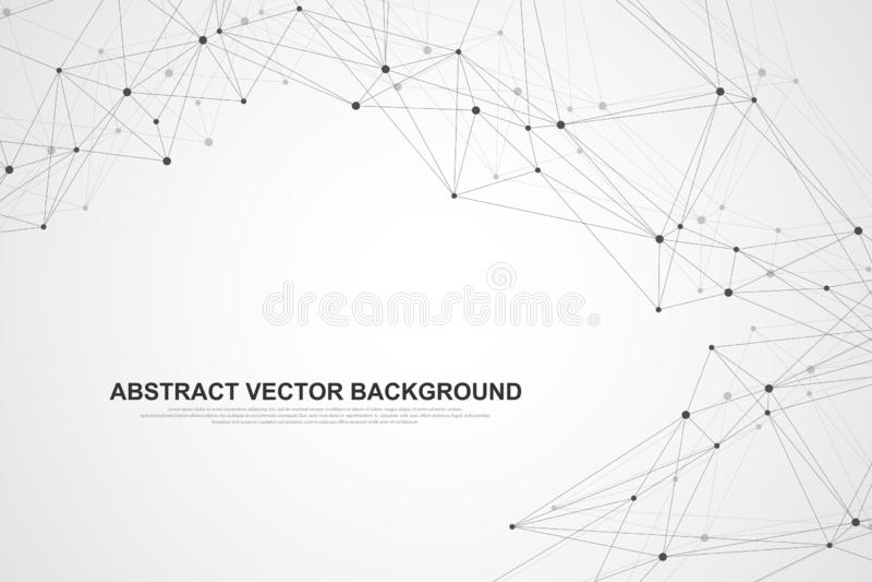 Tecnolog?a del extracto del concepto de la conexi?n del establecimiento de una red Conexiones de red global con los puntos y las  stock de ilustración
