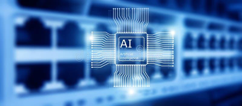 Tecnolog?a del futuro de la inteligencia artificial Concepto de la red de comunicaciones Fondo moderno borroso del datacenter foto de archivo libre de regalías