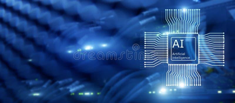 Tecnolog?a del futuro de la inteligencia artificial Concepto de la red de comunicaciones Fondo moderno borroso del datacenter imagen de archivo libre de regalías