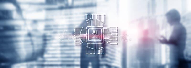 Tecnolog?a del futuro de la inteligencia artificial Fondo azul abstracto borroso Escena urbana fotografía de archivo