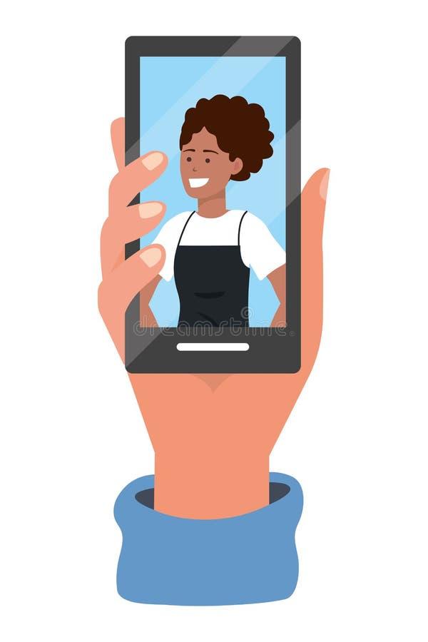 Tecnolog?a del smartphone de la tenencia de la mano ilustración del vector