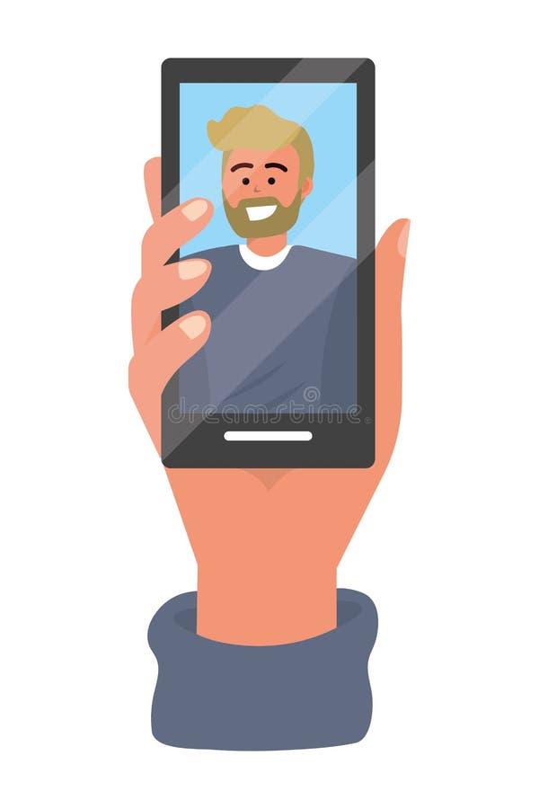 Tecnolog?a del smartphone de la tenencia de la mano stock de ilustración