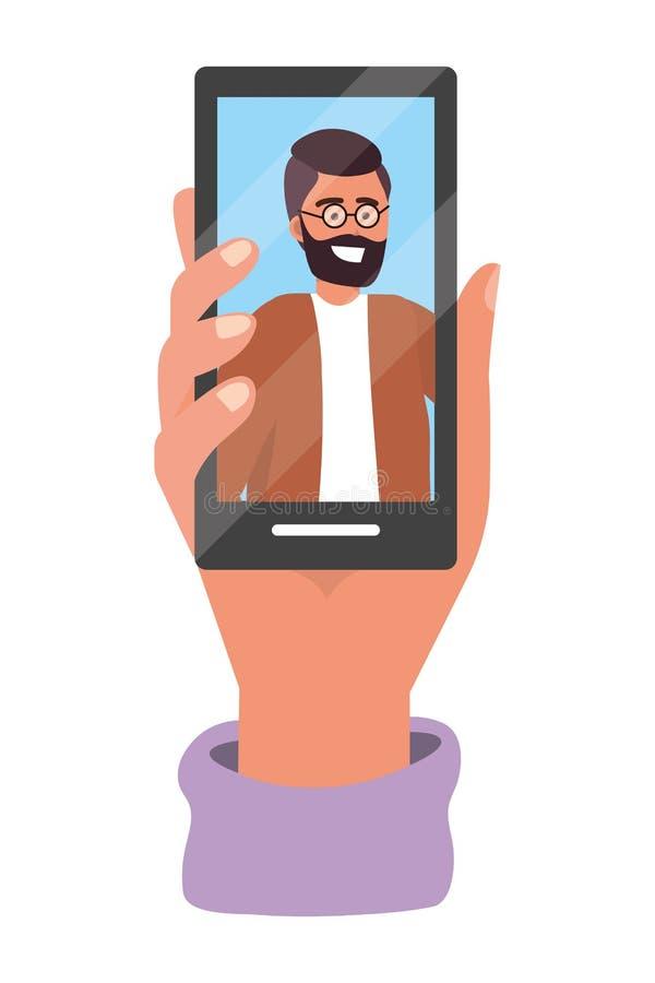 Tecnolog?a del smartphone de la tenencia de la mano libre illustration