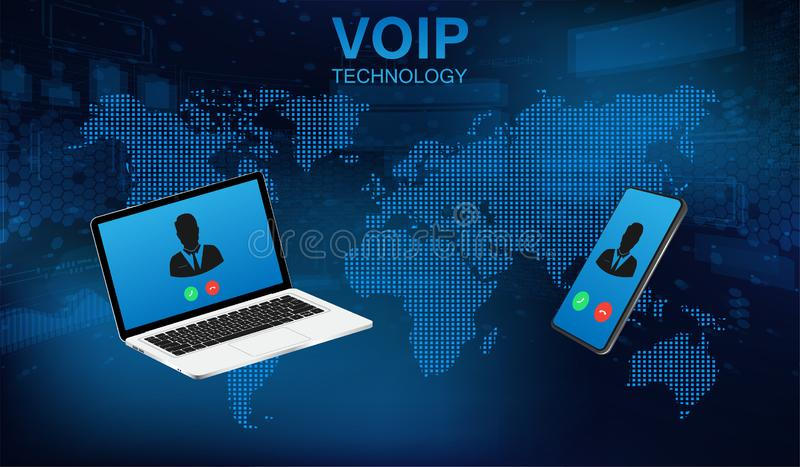 Tecnolog?a del tel?fono de la voz del sistema de la llamada de Voip libre illustration