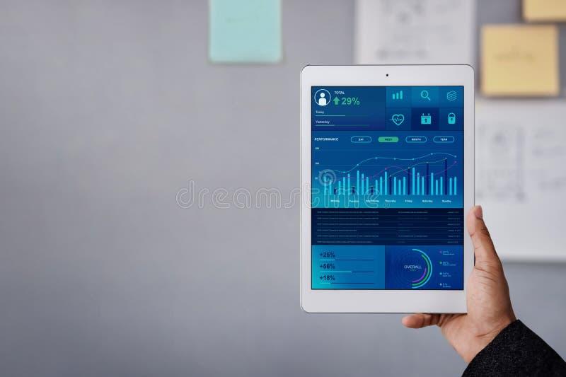Tecnolog?a en concepto del m?rketing de las finanzas y de negocio Los gr?ficos y las cartas muestran en la pantalla de la almohad imagenes de archivo