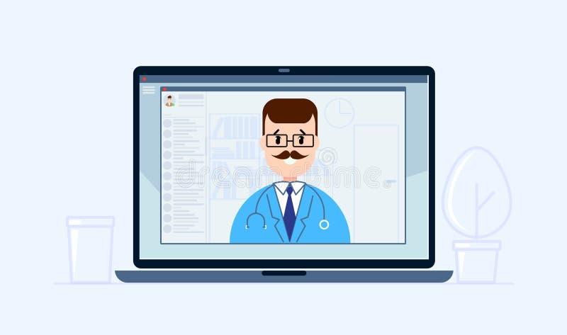Tecnolog?a en l?nea de la consulta del doctor en ordenador port?til Concepto de la consulta médica en estilo plano Doctor que hab ilustración del vector