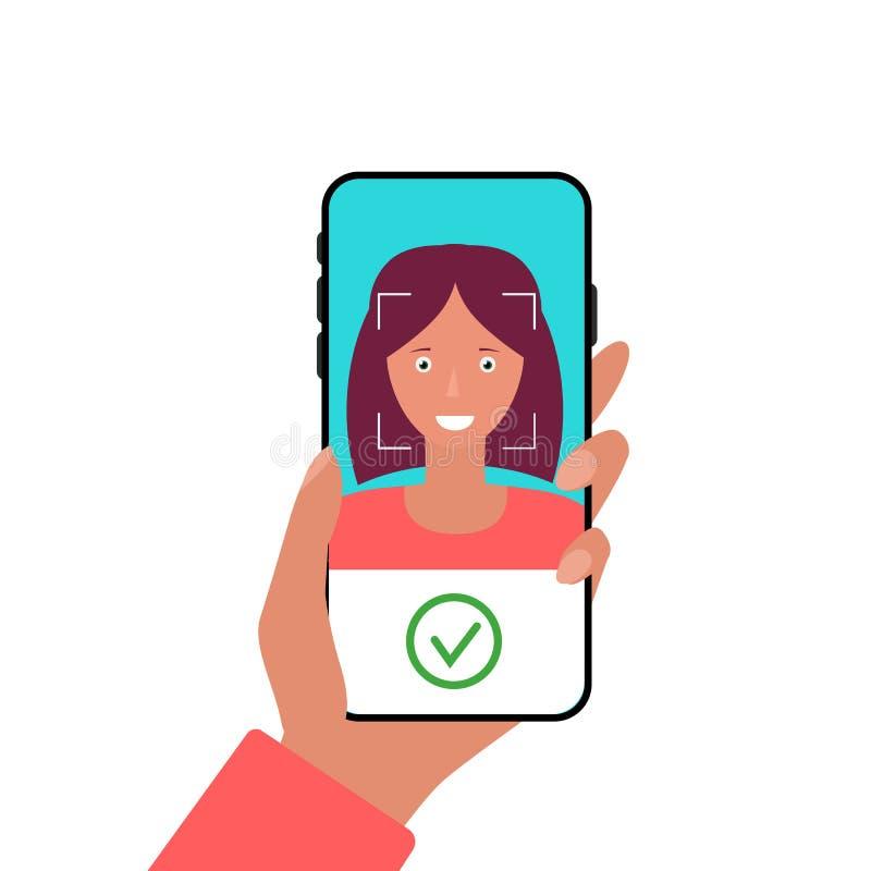 Tecnolog?a facial del reconocimiento en el tel?fono m?vil El usar de la identificación biométrica App m?vil para el reconocimient stock de ilustración