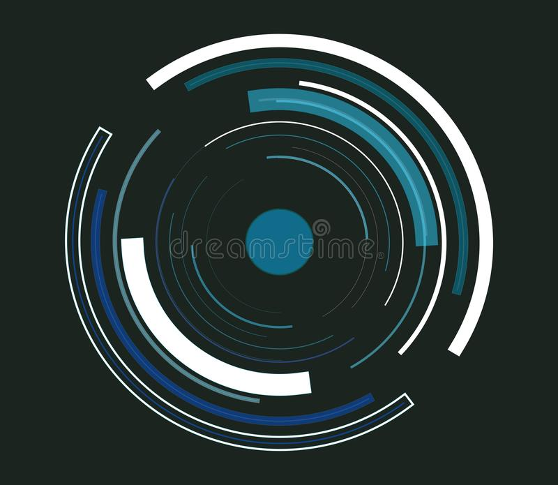 A tecnologia abstrata azul circunda o fundo ilustração do vetor