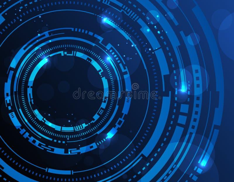 A tecnologia abstrata circunda o fundo ilustração do vetor