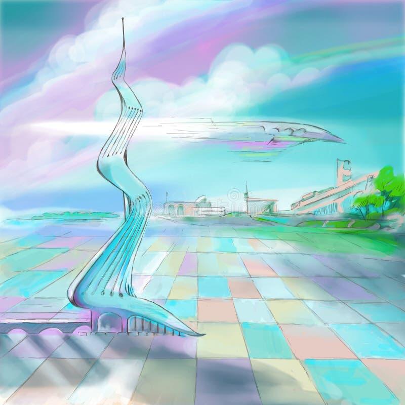 Tecnologia aero de pintura do mundo futuro da ilustração fotografia de stock royalty free