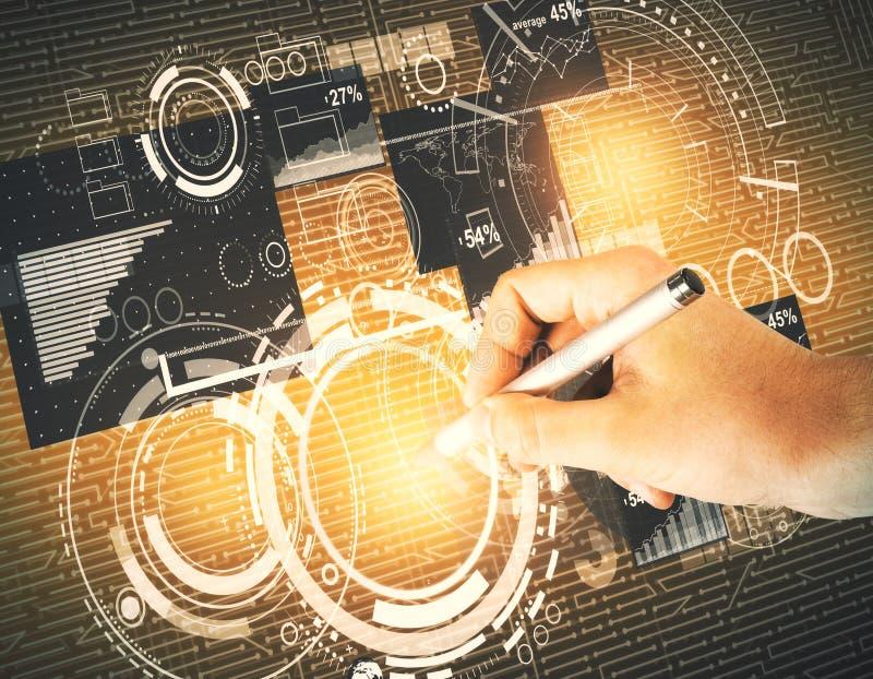 Tecnologia, analisi dei dati e concetto di comunicazione fotografie stock