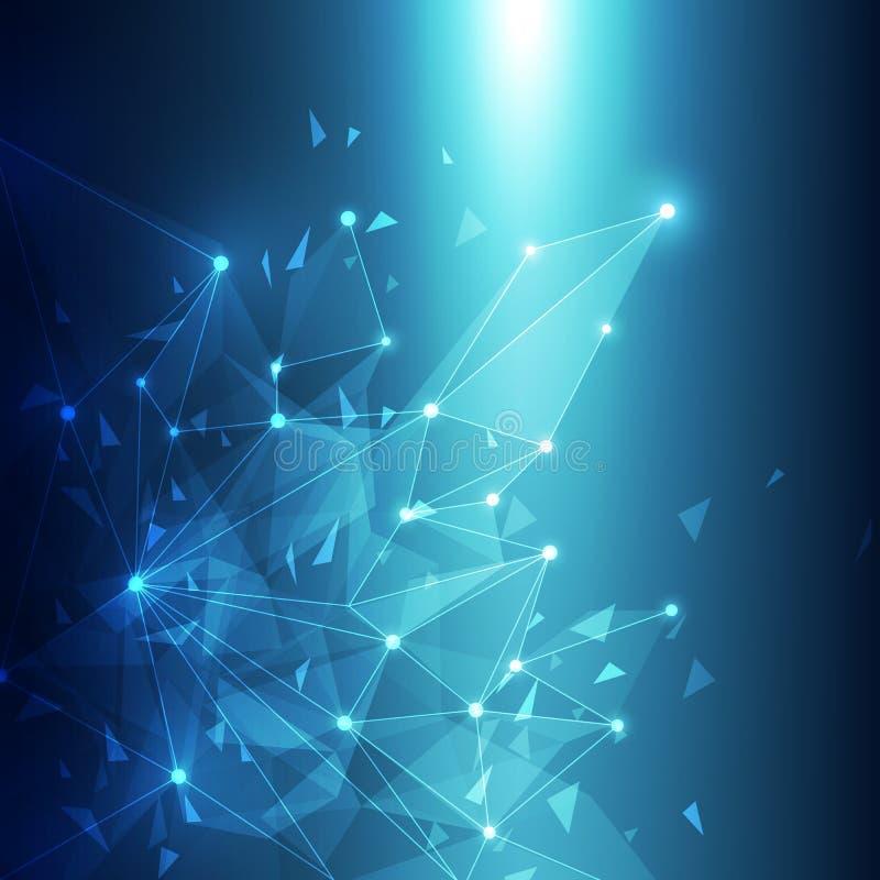 Tecnologia astratta blu Mesh Background con i cerchi, illustrazione di vettore illustrazione di stock