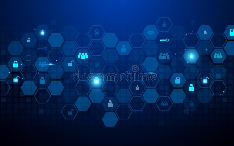 Tecnologia astratta e concetto sociale delle icone di comunicazioni Esagoni e geometrico astratti su fondo blu scuro illustrazione vettoriale