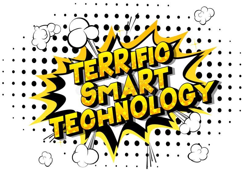 Tecnologia astuta formidabile - parole di stile del libro di fumetti illustrazione vettoriale