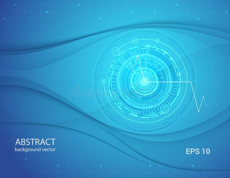 A tecnologia azul abstrata eyes o fundo ilustração do vetor