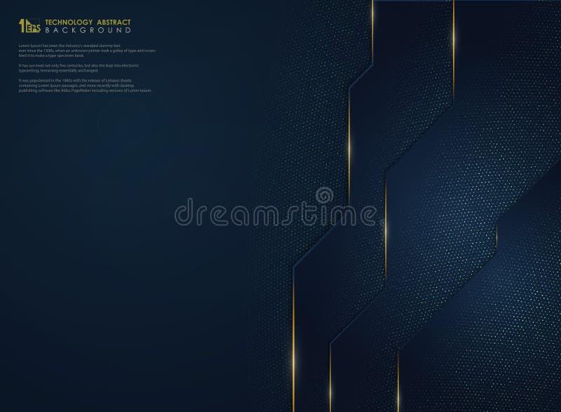 A tecnologia azul do inclinação luxuoso abstrato com ouro brilha fundo Vetor eps10 da ilustra??o ilustração stock