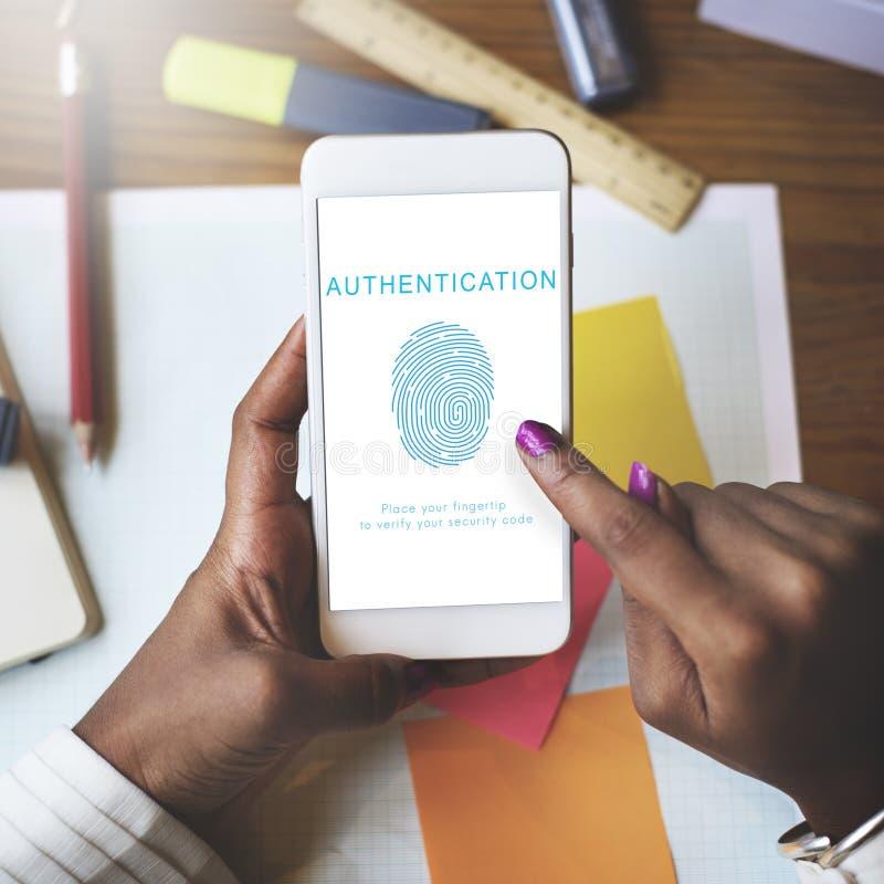 Tecnologia biometrica di accessibilità di autenticazione dell'impronta digitale immagine stock libera da diritti