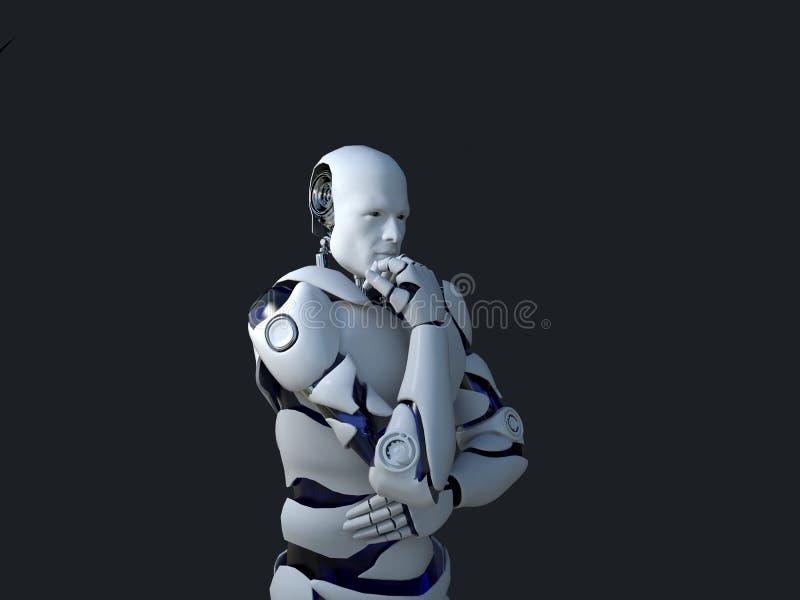 Tecnologia branca do robô que está pensando e certamente sua queixo tecnologia no futuro, em um fundo preto ilustração stock