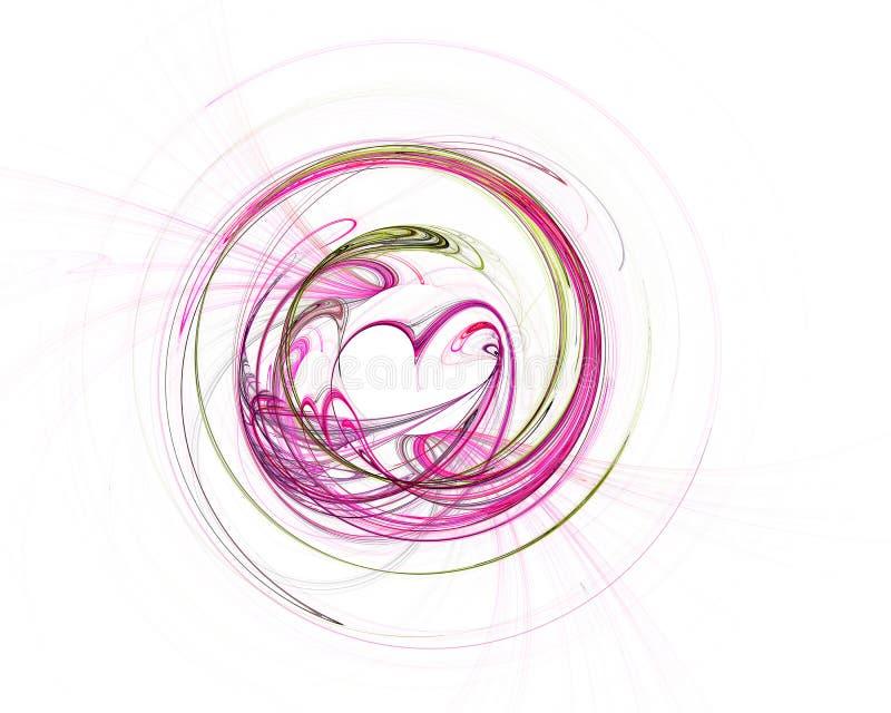 Tecnologia colorida abstrata ou fundo científico, imagem gerada por computador Contexto do Fractal com círculo e coração do estil ilustração royalty free