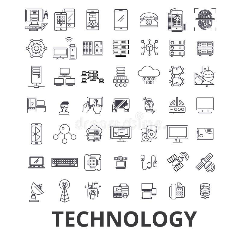 Tecnologia, computador, ele, inovação, ciência, informação, linha ícones da rede da nuvem Cursos editáveis Projeto liso ilustração royalty free