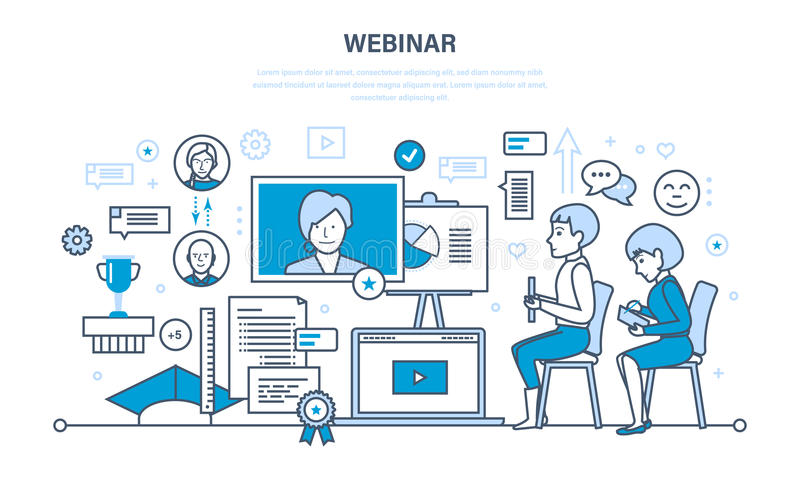 Tecnologia, comunicações, aprendendo em linha, partilha dos treinamentos, dos webinars, dos dados e de informação ilustração do vetor