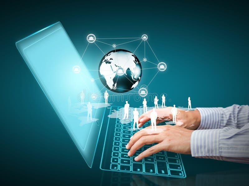 Tecnologia con la struttura di rete sociale immagine stock libera da diritti