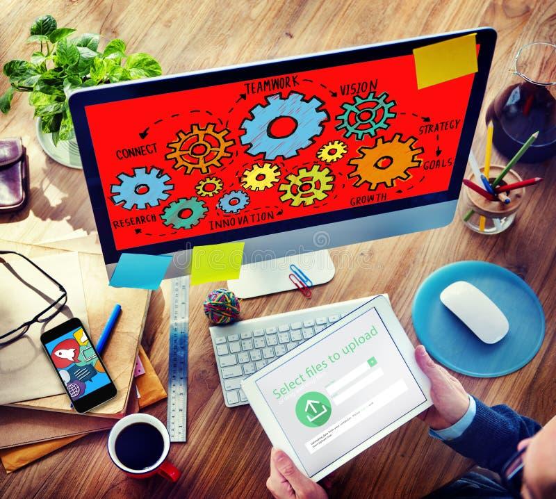 Tecnologia Conce di Team Functionality Industry Teamwork Connection fotografia stock libera da diritti