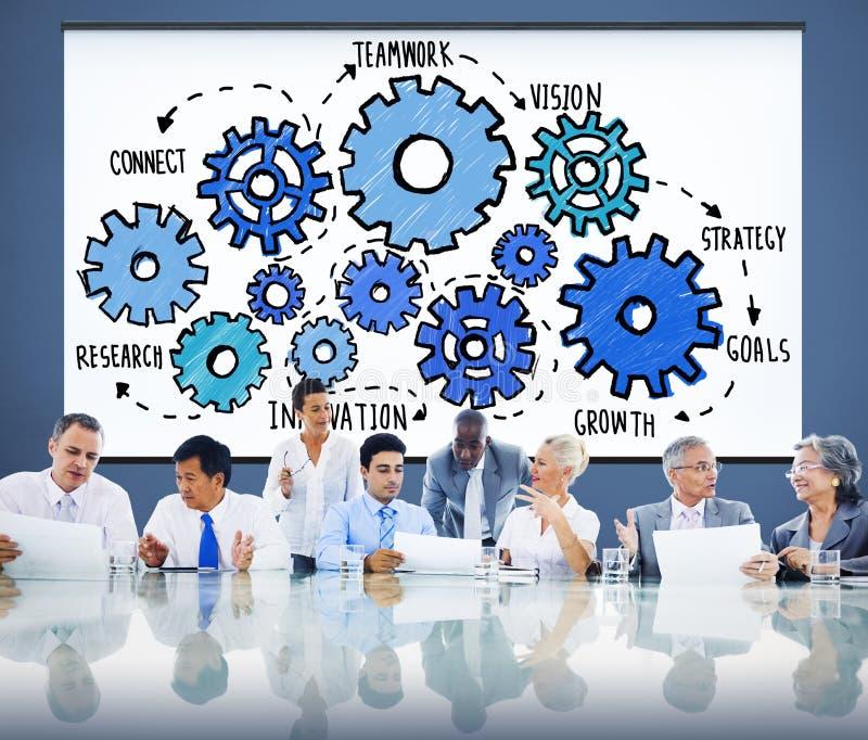 Tecnologia Conce di Team Functionality Industry Teamwork Connection immagine stock libera da diritti