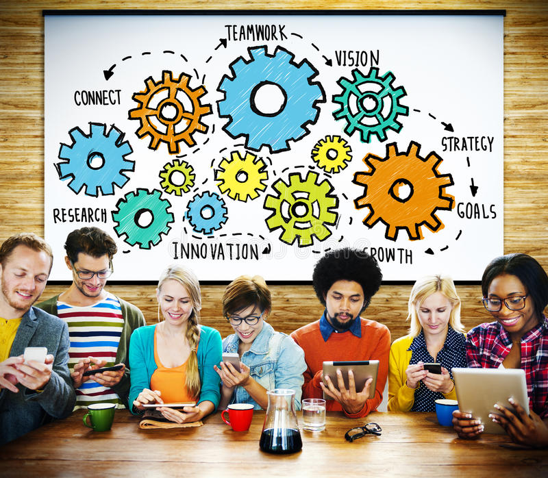 Tecnologia Conce di Team Functionality Industry Teamwork Connection immagini stock