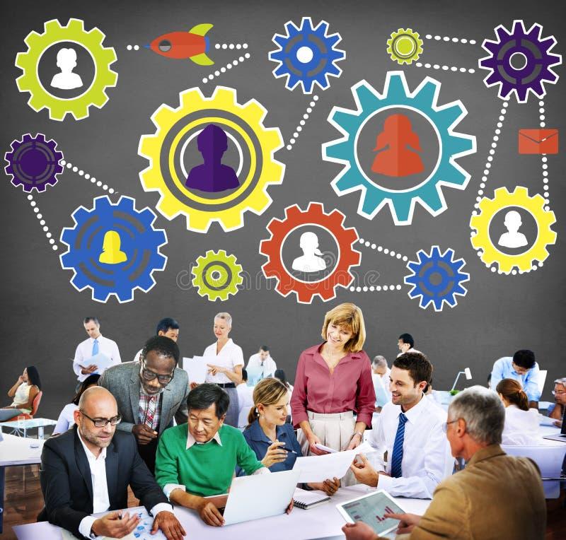 Tecnologia Concep di Team Functionality Industy Teamwork Connection immagine stock libera da diritti