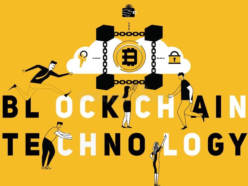 Tecnologia criativa e povos de Blockchain do conceito da palavra que fazem atividades ilustração stock