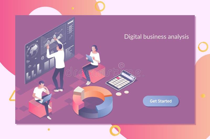 Tecnologia da analítica do negócio usando dados grandes Negócio Team Investment Entrepreneur Trading Concept plano 3d isométrico ilustração stock
