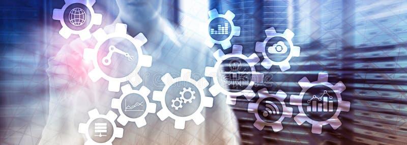 Tecnologia da automatização e conceito esperto da indústria no fundo abstrato borrado Engrenagens e ícones foto de stock royalty free