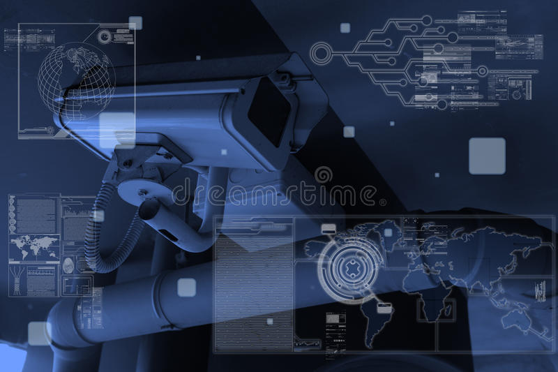 Tecnologia da câmera do CCTV na visualização ótica fotos de stock royalty free