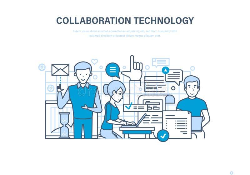 Tecnologia da colaboração Cooperação, parcerias, trabalhos de equipa, vendas, pesquisa e mercado ilustração royalty free
