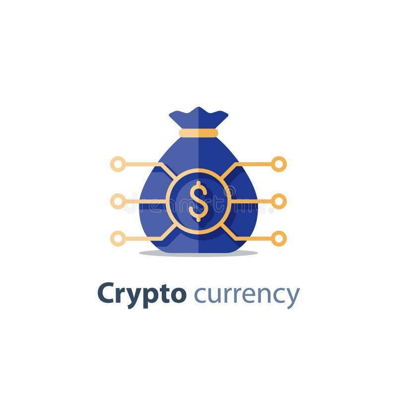 A tecnologia da corrente de bloco, moeda cripto, artigo financeiro, portfólio de investimento, negócio da inovação começa acima,  ilustração do vetor