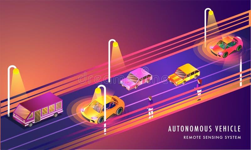 A tecnologia da detecção remota baseou veículos autônomos no lan urbano ilustração royalty free