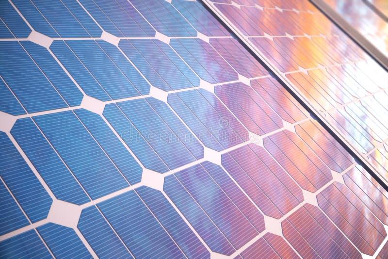 tecnologia da geração das energias solares da ilustração 3D Energia alternativa Módulos do painel de bateria solar com por do sol ilustração royalty free
