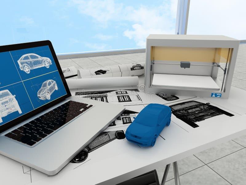 tecnologia da impressão 3d, carro da impressão ilustração stock