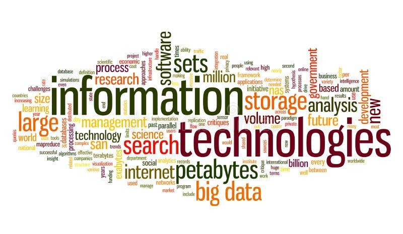 Tecnologia da informação na nuvem da etiqueta ilustração stock