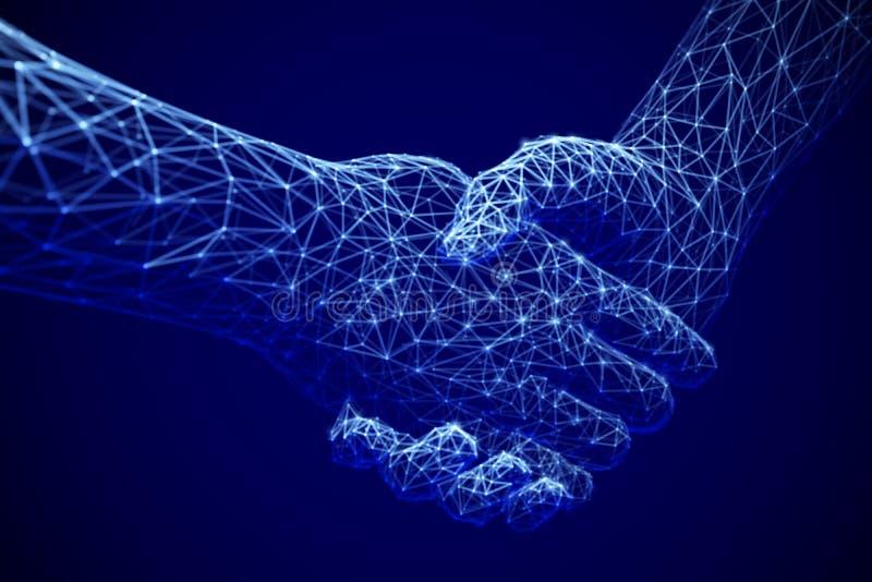 Tecnologia da informação no negócio, no negócio digital ou no comércio em linha: aperto de mão digital ilustração royalty free