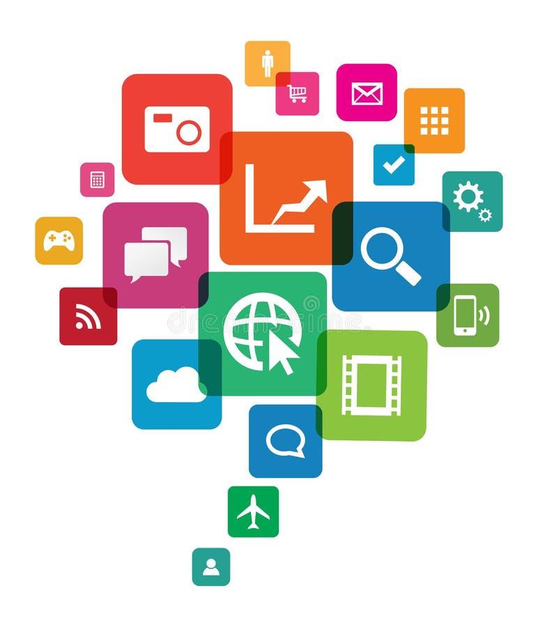 Tecnologia da nuvem do App ilustração stock