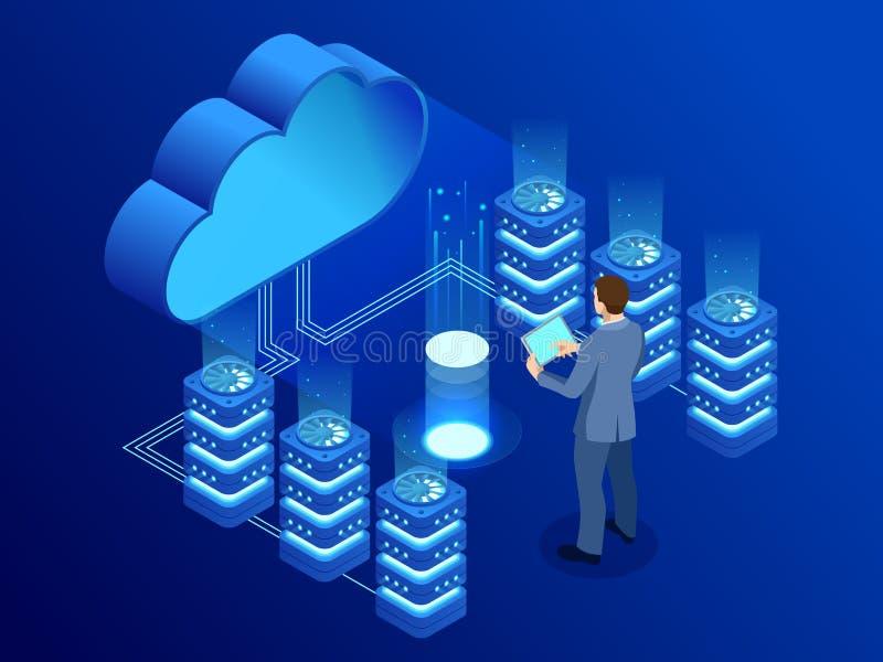 Tecnologia da nuvem e conceito modernos isométricos dos trabalhos em rede Negócio da tecnologia da nuvem da Web Vetor dos serviço ilustração stock