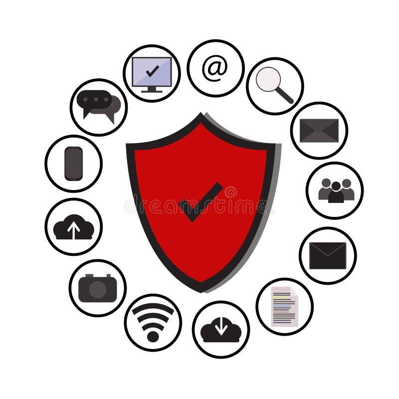 A tecnologia da proteção de dados comerciais e a segurança da rede da nuvem, ícones ajustaram o vetor, azul, fundo branco ilustração stock