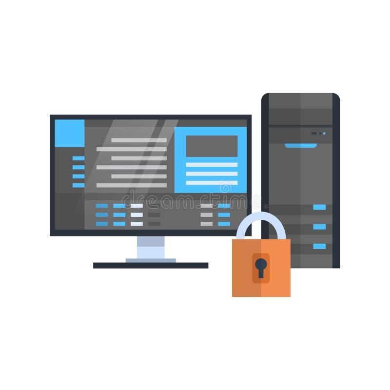 Tecnologia de base de dados da segurança do servidor de acolhimento do ícone da proteção do centro de dados ilustração do vetor