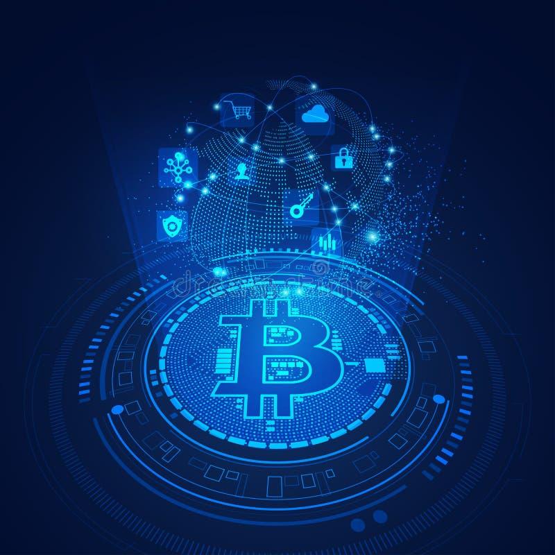 Tecnologia de Bitcoin ilustração do vetor