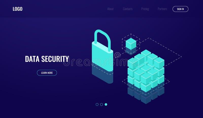 Tecnologia de Blockchain, acesso de dados e segurança de dados, ícone isométrico, nuvem que computa, banco de dados da proteção d ilustração stock
