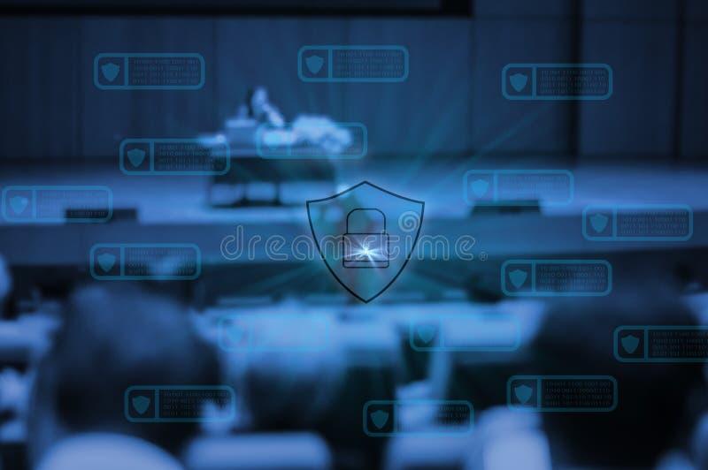 Tecnologia de Blockchain com os povos da segurança do cyber do ícone que encontram o grupo do salão de convenção, avanços tecnoló